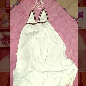 Free people boho white maxi halter dress